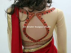 Saree blouse pattern highlighted with simple embroidery