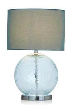 Buy Teal Crackle Glass Table Lamp from the Next UK online shop Bedside Table Lamps, Crackle Glass, Table Desk, Home Living Room, Glass Table, New Homes, Lights, Teal, Stuff To Buy