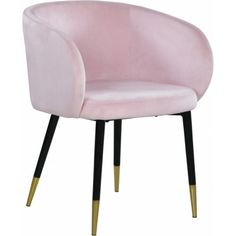 Modish Curved Back Pink Velvet Black Legs Dining Accent Chair