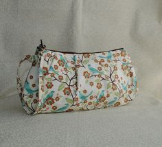 Pleated Wristlet Zipper Pouch // Clutch - Birds On Branches
