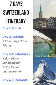 Switzerland itinerary One week in Switzerland 7 days Switzerland itinerary Switzerland travel Things to do in Switzerland Best places to visit in Switzerland Interl. Switzerland Places To Visit, Switzerland Summer, Switzerland Travel Guide, Switzerland Itinerary, Switzerland Cities, Switzerland Vacation, Swiss Travel, European Travel, Cool Places To Visit