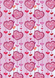 Papel regalo cortina corazones rosado