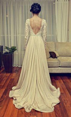 Simple lace wedding dress