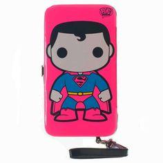 "DC Comics Pop Heroes ""Superman"" Neon Pink Hinged Wallet Phone Case w/ Wristlet #DCComicsPopHeroesSuperman #Bifold"