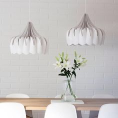White on white never goes out of style ✨ Peony lamp looks beautiful above dining room table / be&liv Ceiling Lamp, Ceiling Lights, Beautiful Lights, Dining Room Table, Peony, Contemporary, Instagram Posts, Inspiration, Home Decor