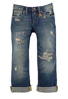 Ralph Lauren Childrenswear Repaired Boyfriend Jeans Toddler Girls- Somethin about hole-y jeans Toddler Girl Outfits, Toddler Fashion, Boy Outfits, Kids Fashion, Toddler Girls, Toddler Hair, Baby Kids, Little Girl Fashion, My Little Girl