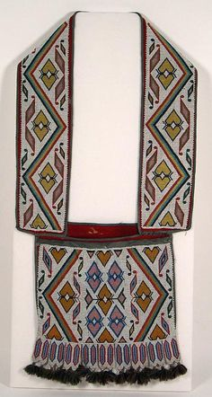 The Omaha were associated with the Iowa in NW Iowa and SW Minnesota during the mid to late 1600s. As the Sioux moved south and west, the Omaha moved still farther west to South Dakota, and by the late 1700s, to Nebraska. Several features characterize Omaha bags: Offset shoulder straps; Identical designs on both sides of the strap; Linear designs that are often repeated; Mirror-image appliqué designs; Six-pointed star motif.