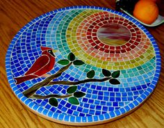 Lazy Susan Stained Glass Mosaic Cardinal by NatureUnderGlass, $85.00