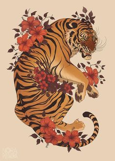 Nora Potwora Animal poster commission, this time the coolest big. - Nora Potwora Animal poster commission, this time the coolest big cat in the world! Art Tigre, Tattoo Drawings, Art Drawings, Japon Illustration, Tiger Illustration, Monster Illustration, Botanical Illustration, Animal Posters, Aesthetic Art