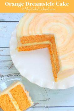 The BEST homemade Orange Dreamsicle Cake with moist orange cake layers, orange cream filling, and orange cream cheese frosting! From MyCakeSchool.com's Cake Recipes section! Orange Dreamsicle Cake Recipe, Moist Orange Cake Recipe, Baking Recipes, Dessert Recipes, Summer Cake Recipes, Layer Cake Recipes, Easter Recipes, Cake Tasting, Let Them Eat Cake