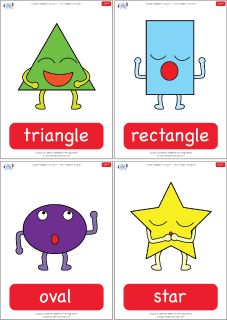 "Simple shapes flashcards for the Super Simple Learning song ""The Shapes Song #2."" #preK #Kindergarten #ESL"