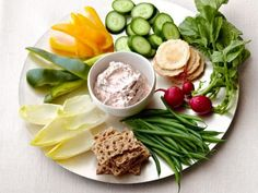 Smoked Salmon Dip recipe from Ina Garten via Food Network - love this pic too, for style of veggie tray Dip Recipes, Salmon Recipes, Appetizer Recipes, Cooking Recipes, Tuna Recipes, Dinner Recipes, Smoked Salmon Spread, Veggie Plate, Veggie Tray