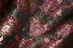 Z522 Brokaat-achtig bloemen fuchsia/zwart/goud