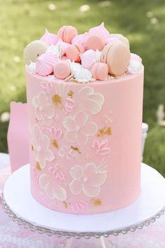 Macaron & Meringue-topped Cake from a Pink Hot Air Balloon Birthday Party on Kara's Party Ideas | KarasPartyIdeas.com