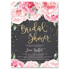Brunch and bubbly chalkboard bridal shower invitations pink flowers jenn pink blooms chalkboard bridal shower invitation filmwisefo