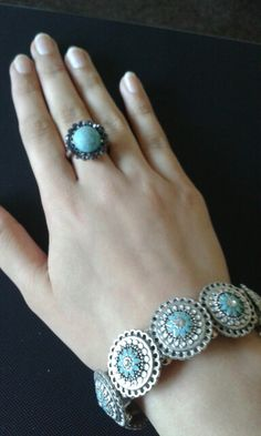 Beautiful water blue coloured ring and bracelet/ sliver
