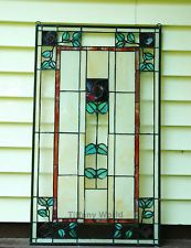 "20"" x 34"" Large Tiffany Style stained glass window panel Rose ! Rose!"