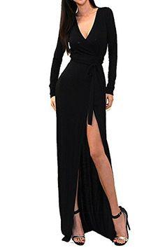 46f408f12d VIVICASTLE Women s Sexy Long Sleeve Tulip Wrap Slit Front Full Long Maxi  Dress at Amazon Women s Clothing store