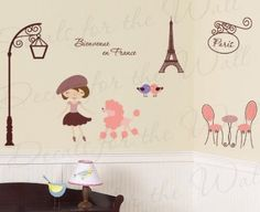 Paris France Trendy French Eiffel Tower Poodle - Bienvenue en France - Girl's Room Kids Baby Playroom Nursery - Wall Graphic Decor, Vinyl Decal Decoration, Decorative Mural Art Sticker Decals for the Wall