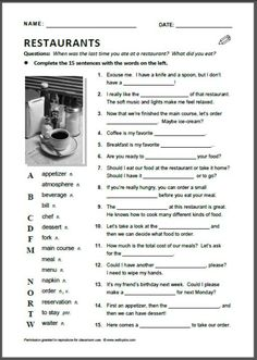 """Translate in to German! A good cloze activity to accompany English Forward's """"Going out to Eat"""" unit, or a good stand-alone activity for tutors wanting to teach about restaurant culture in the US. English Quiz, English Tips, English Study, English Lessons, Learn English, English English, English Food, English Language, English Resources"""