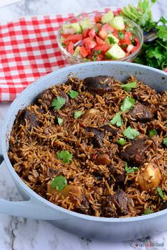 East African Pilau - Chef Lola's Kitchen - Easy and Tasty Family-Approved Recipes - East African Pilau Kenyan Beef and Potato Pilau - One Pot Dishes, Rice Dishes, Food Dishes, Rice Bowls, Beef Dishes, Side Dish Recipes, Rice Recipes, Meat Recipes, Pilau Rice