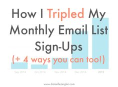 How I Tripled My Monthly Email List Sign-Ups ( +4 ways you can too)