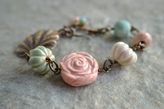 Cottage Rose Ceramic Bracelet by TheJunquerie on Etsy