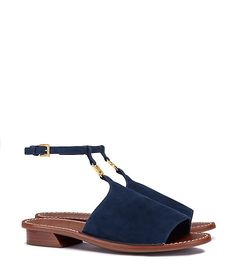 Our Gemini Link Ankle-Strap Sandal is defined by its standout details. Made of suede, it's set off with polished hardware — a graphic take on our logo adapted from a signature jewelry coll