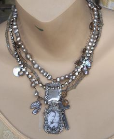 Reserved for Sweet Paulette...Dream Lover Labradorite Pearl Sterling Luggage Tag Necklace. $105.00, via Etsy.
