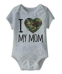 Look what I found on #zulily! Heather Gray 'I Love My Mom' Camo Heart Bodysuit - Infant #zulilyfinds
