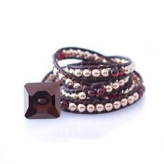 Wrap Bracelet: 14Kt Gold Beads with Garnet and Chocolate Swavorski Crystal by Jonti Cameron. The ideal gift for your girlfriend this Christmas!