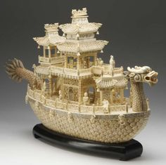 Chinese Bone Carved Dragon Boat