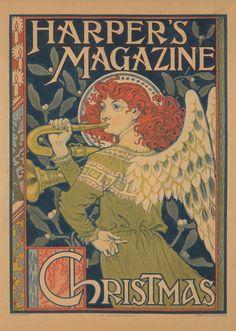 Eugene Grasset, rare image for Harper's Magazine, Christmas edition, 1892. Vintage poster in Art Nouveau style.