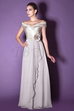 Charming Flower Lace Draped A-Line Off-the-Shoulder Floor-Length Taline's Mother of the Bride Dress