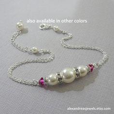 Bridesmaid Bracelet, Swarovski Ivory Pearl and Fuschia Crystal Bridesmaid Bracelet, Personalized Bridesmaid Gift, Bridesmaid Jewelry