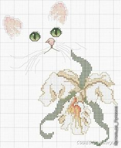 Made something like this with a pink flower Cat Cross Stitches, Funny Cross Stitch Patterns, Cross Stitch Bird, Simple Cross Stitch, Cross Stitch Animals, Cross Stitch Charts, Cross Stitch Designs, Cross Stitching, Cross Stitch Embroidery