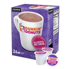 Bring the deliciousness of Dunkin Donuts Cocoa to your home. These Dunkin Donuts K-Cups offer a cozy cup of hot chocolate. Curl up with a warm mug of hot cocoa. oz per serving offers a low calorie cup each time. Compatible with all Keurig brewers. Asian Snacks, Cocoa Chocolate, Sports Drink, K Cups, Coffee Creamer, Coffee Pods, Dunkin Donuts, Keurig, Food