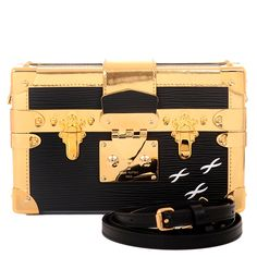 #LouisVuitton Petite Malle Epi #Bag in Black and Metallic Gold Trim with Golden Brass Hardware