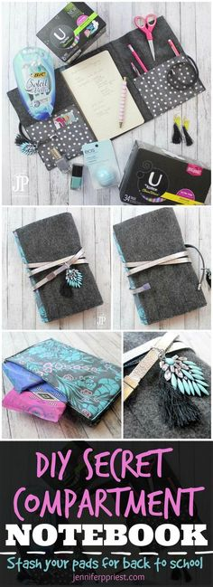 Create a discreet period kit for school - for your daughter or yourself! VIDEO TUTORIAL to make a notebook cover with secret compartments for pads, money. kit Period Kit for School - DIY Secret Compartment Notebook Cover Clutch Notebook Diy, Notebook Covers, Diy Notebook Cover For School, Notebook Sleeve, Small Notebook, Pocket Notebook, Journal Covers, Crafts For Teens, Fun Crafts