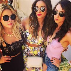 Ashley Benson (Hanna), Shay Mitchell (Emily) and Troian Bellisario (Spencer) behind the scenes of Pretty Little Liars. #PLL