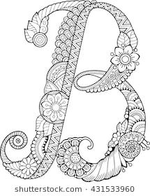 Coloring book for adults. Floral doodle letter B. Doodle Alphabet, Doodle Art Letters, Flower Alphabet, Doodle Lettering, Graffiti Lettering, Alphabet Coloring Pages, Cute Coloring Pages, Adult Coloring Pages, Coloring Books