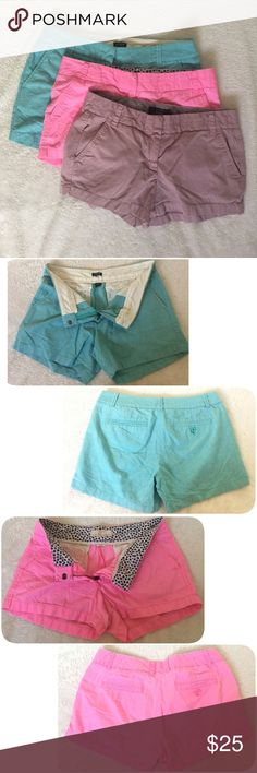 "3 J. Crew Chino Shorts Size 6 Pink Blue Taro Blue: 5"" Chino Short  Pink & Taro: 3"" Chino Short  See pictures for details, condition, and measurements.   ❌NO Trade.  ❌Lowball Offer Will be IGNORED&BLOCKED.  ⚡️Serious Buyer ONLY⚡️NO DRAMA! ⭐️Same/next day shipping via USPS ⚠I video record all sales from packing to shipping so we are both protected ⚠ J. Crew Shorts"