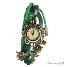Leder Armbanduhr Eifelturm VINTAGE grün im Organza...