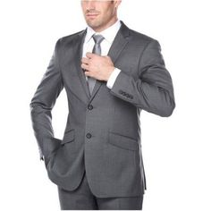 Men's Dark Grey Classic Fit Italian Styled Two Piece Suit, Size: 36R, Gray