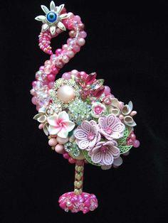 CJ Borden. Color me Pink Vintage Jewelry Flamingo - Flamingo Art - Jewelry Wall Art - Home Decor - Vintage Jewelry Art - by ArtCreationsByCJ on Etsy