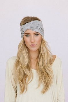 Gray Turband Headband Wide Sparrow Headband Jade Stretchy Jersey Hair Band Ruched with Fabric Wrap (HB-163)
