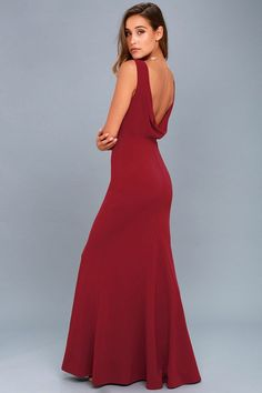 f27b263fc70e0d Veronique Burgundy Off-the-Shoulder Maxi Dress in 2019