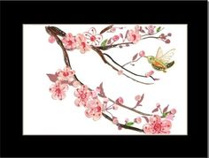 Paper quilling cherry blossom and humming bird