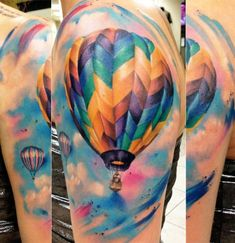 Beautiful, bright hot air balloon tattoo