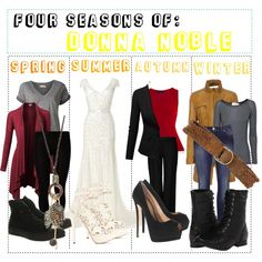 """""""Four Seasons of: Donna Noble"""" by fabfandomsfash on Polyvore"""
